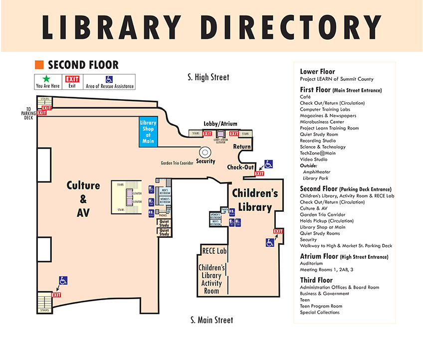Second Floor Diagram of ASCPL Main Library