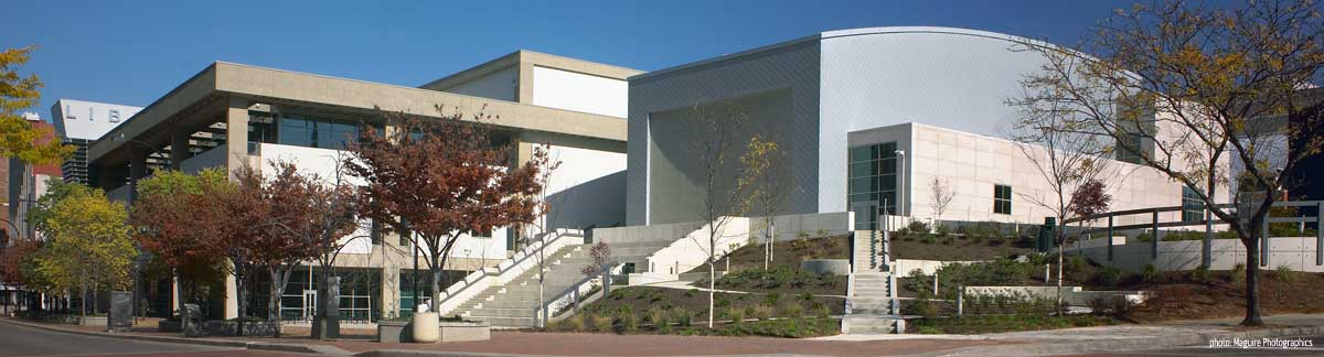 Akron Main Library's atrium and auditorium from Main Street